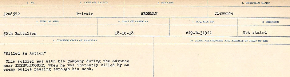 Death Registry– Source: Library and Archives Canada.  CIRCUMSTANCES OF DEATH REGISTERS FIRST WORLD WAR Surnames: Broad to Broyak. Mircoform Sequence 14; Volume Number 31829_B016723; Reference RG150, 1992-93/314, 158 Page 133 of 1128