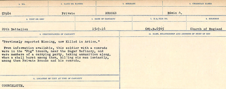 Death Registry– Source: Library and Archives Canada.  CIRCUMSTANCES OF DEATH REGISTERS FIRST WORLD WAR Surnames: Broad to Broyak. Mircoform Sequence 14; Volume Number 31829_B016723; Reference RG150, 1992-93/314, 158 Page 211 of 1128
