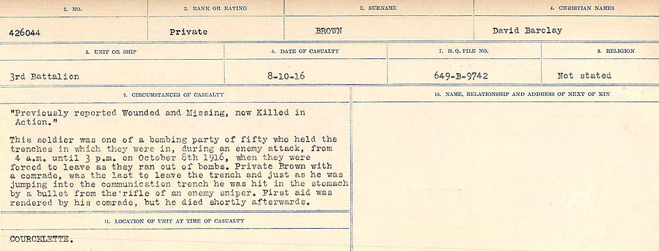 Photo of DAVID BARCLAY BROWN– Source: Library and Archives Canada.  CIRCUMSTANCES OF DEATH REGISTERS FIRST WORLD WAR Surnames: Broad to Broyak. Mircoform Sequence 14; Volume Number 31829_B016723; Reference RG150, 1992-93/314, 158 Page 475 of 1128