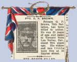 Newspaper Clipping– Oliver Perry Brown enlisted in Toronto in the 84th Battalion C.E.F. on September 11th, 1915.  This article and photo appeared in the Toronto Evening Telegram on December 7th, 1916.  In honoured memory.