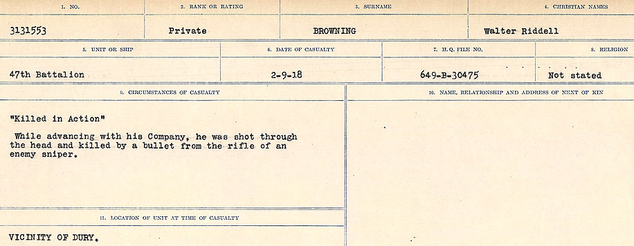 Death Registry– Source: Library and Archives Canada.  CIRCUMSTANCES OF DEATH REGISTERS FIRST WORLD WAR Surnames: Broad to Broyak. Mircoform Sequence 14; Volume Number 31829_B016723; Reference RG150, 1992-93/314, 158 Page 1099 of 1128