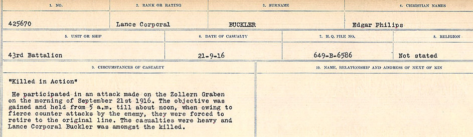 Death Registry– Source: Library and Archives Canada.  CIRCUMSTANCES OF DEATH REGISTERS FIRST WORLD WAR Surnames: Brubacher to Bunyan. Mircoform Sequence 15; Volume Number 31829_B016724; Reference RG150, 1992-93/314, 159 Page 381 of 668