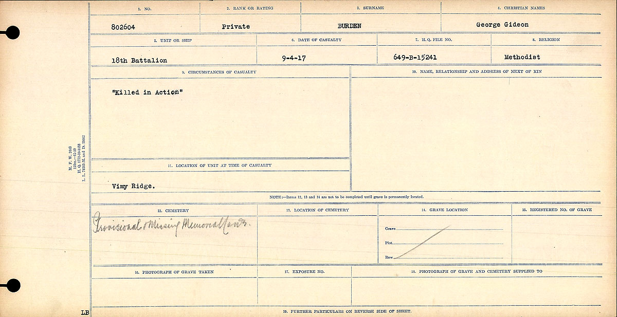 """Circumstances of Death Registers– """"Killed in Action"""""""