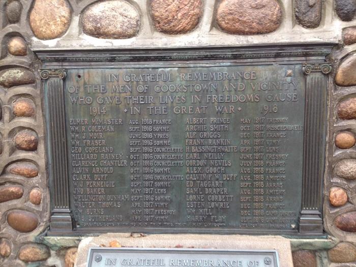 Inscription– Cookstown Cenotaph