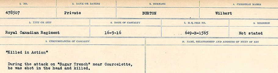 Circumstances of Death Registers– Source: Library and Archives Canada.  CIRCUMSTANCES OF DEATH REGISTERS, FIRST WORLD WAR Surnames:  Burbank to Bytheway. Microform Sequence 16; Volume Number 31829_B016725. Reference RG150, 1992-93/314, 160.  Page 599 of 926.