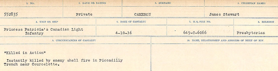 Circumstances of Death Registers– Source: Library and Archives Canada.  CIRCUMSTANCES OF DEATH REGISTERS, FIRST WORLD WAR Surnames:  Cabana to Campling. Microform Sequence 17; Volume Number 31829_B016726. Reference RG150, 1992-93/314, 161.  Page 445 of 1024.