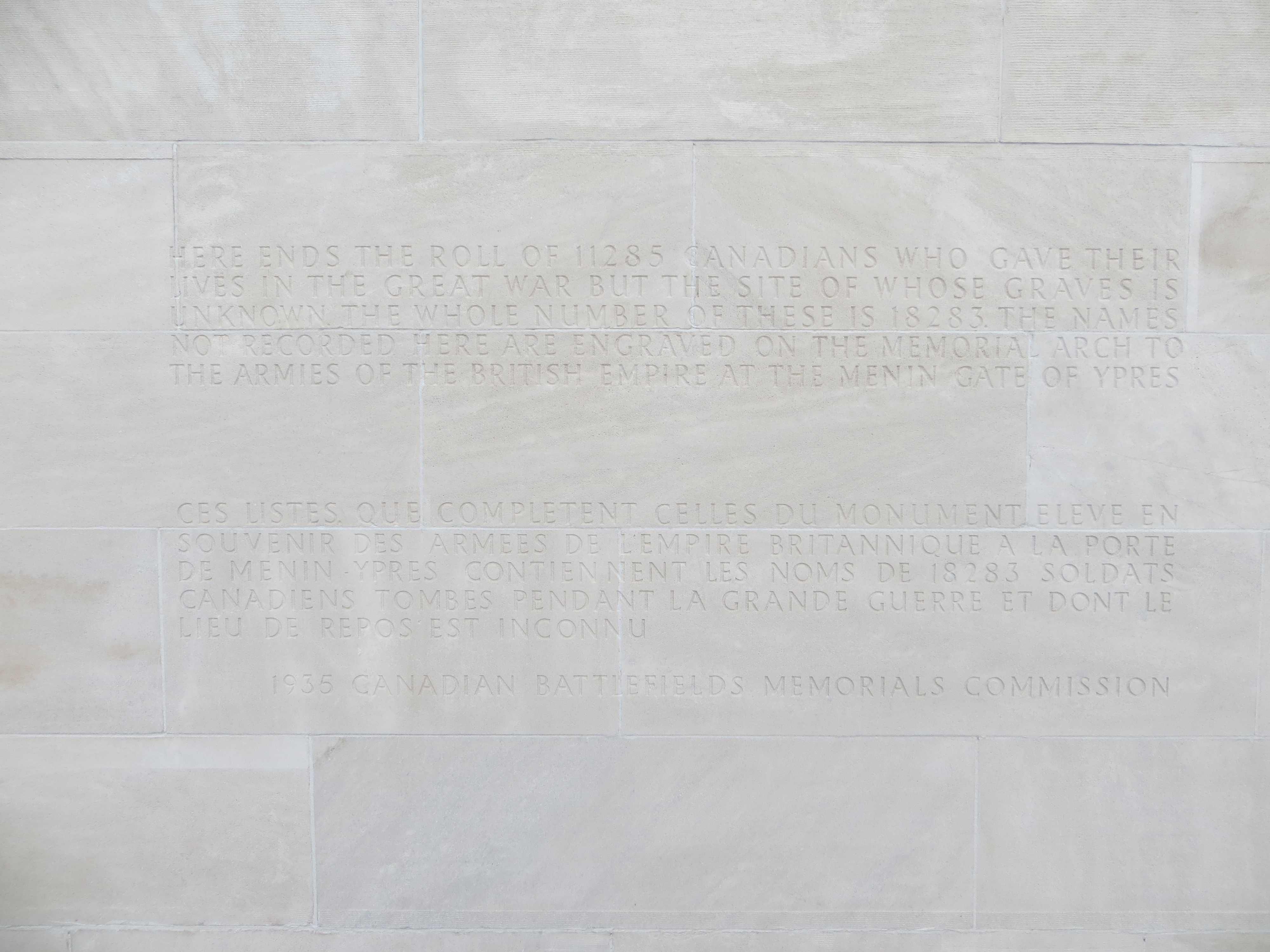 Inscription– Vimy Memorial - Inscription for the Missing - September 2017