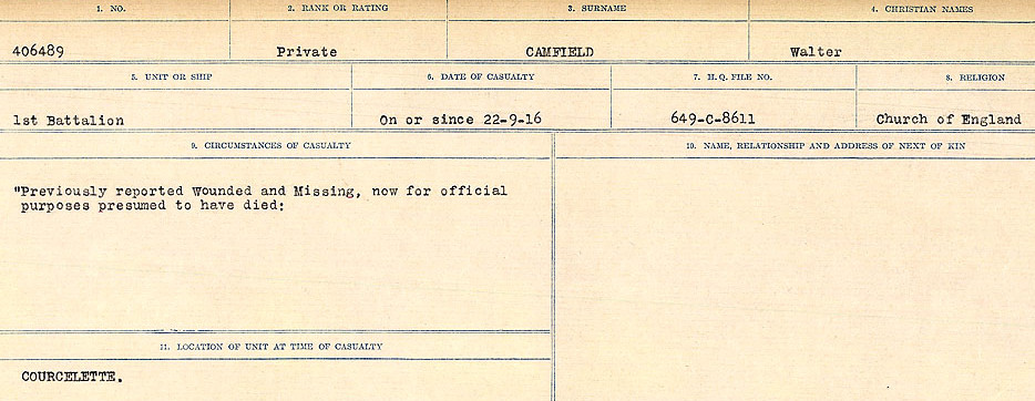 Circumstances of Death Registers– Source: Library and Archives Canada.  CIRCUMSTANCES OF DEATH REGISTERS, FIRST WORLD WAR Surnames:  Cabana to Campling. Microform Sequence 17; Volume Number 31829_B016726. Reference RG150, 1992-93/314, 161.  Page 511 of 1024.