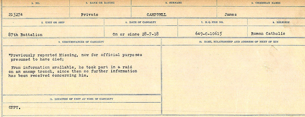 Circumstances of Death Registers– Source: Library and Archives Canada.  CIRCUMSTANCES OF DEATH REGISTERS, FIRST WORLD WAR Surnames:  Cabana to Campling. Microform Sequence 17; Volume Number 31829_B016726. Reference RG150, 1992-93/314, 161.  Page 749 of 1024
