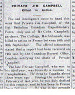 Newspaper Clipping– Cutting from Campbeltown Courier dated 21/oct/1916.