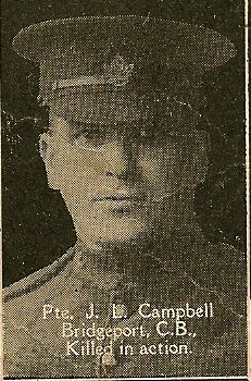Photo of JOHN LOCKMAN CAMPBELL– From the book, Catholics of the Diocese of Antigonish, Nova Scotia and the Great War 1914- 1919.  Submitted for the project, Operation: PIcture Me