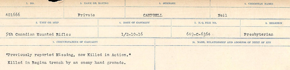 Circumstances of Death Registers– Source: Library and Archives Canada.  CIRCUMSTANCES OF DEATH REGISTERS, FIRST WORLD WAR Surnames:  Cabana to Campling. Microform Sequence 17; Volume Number 31829_B016726. Reference RG150, 1992-93/314, 161.  Page 869 of 1024