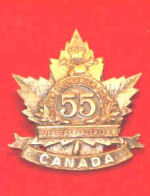 Badge– Cap Badge  55th Bn (New Brunswick and P.E.I.).  Private Cambell was a member of the 55 th Bn before being sent to the 15th Bn as a reinforcement.  Submitted by Captain (retired) victor Goldman, 15th Bn Memorial Project.  DILEAS GU BRATH