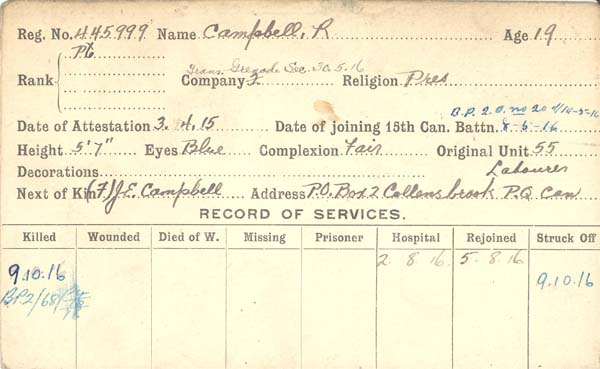 Photo of ROBERT CAMPBELL– Record of Service Card (front side).  Courtesy 48th Highlanders of Canada Regimental Museum.  Submitted by 15th Bn Memorial Project Team.  DILEAS GU BRATH