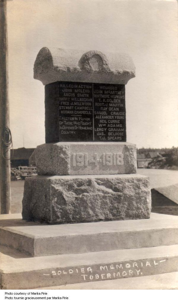 Tobermory Ontario War Memorial (Bruce County)
