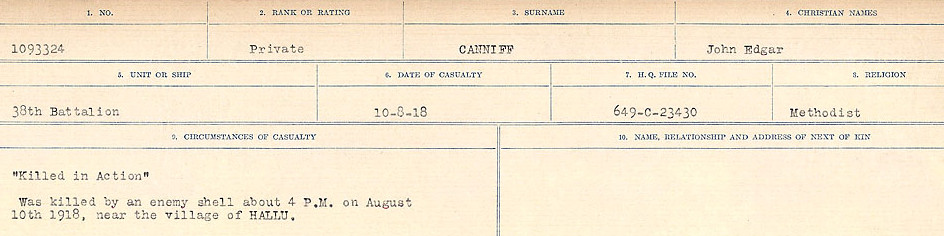 Circumstances of Death Registers– Source: Library and Archives Canada.  CIRCUMSTANCES OF DEATH REGISTERS, FIRST WORLD WAR Surnames:  Canavan to Caswell. Microform Sequence 18; Volume Number 31829_B016727. Reference RG150, 1992-93/314, 162.  Page 43 of 1004.
