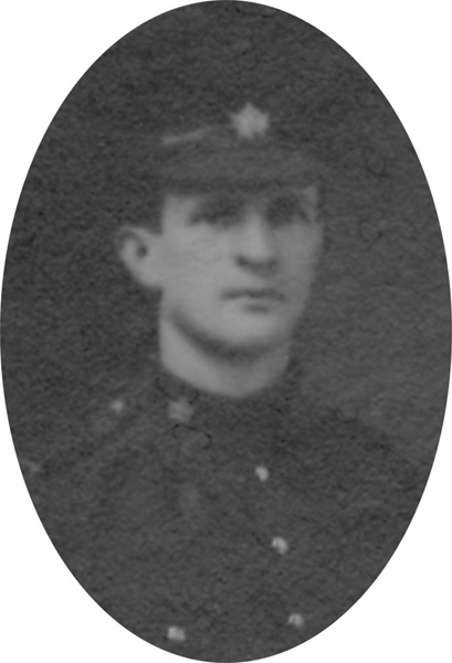 Photo of WILLIAM CAPEL– From a collage photo layout of members of A Company and the bugle band of the 157th Canadian Infantry Battalion.