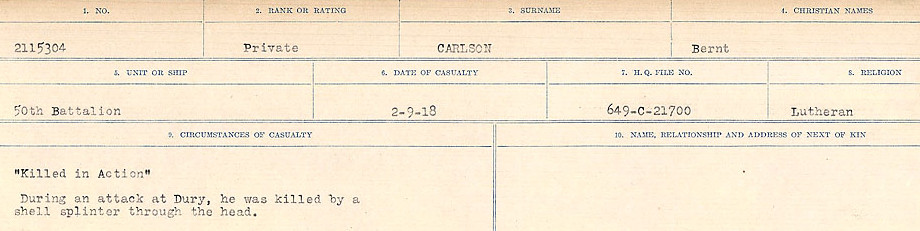 Circumstances of Death Registers– Source: Library and Archives Canada.  CIRCUMSTANCES OF DEATH REGISTERS, FIRST WORLD WAR Surnames:  Canavan to Caswell. Microform Sequence 18; Volume Number 31829_B016727. Reference RG150, 1992-93/314, 162.  Page 265 of 1004.