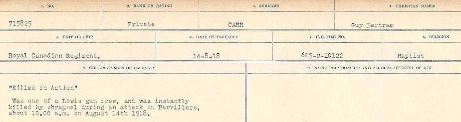 Circumstances of Death Registers– Source: Library and Archives Canada.  CIRCUMSTANCES OF DEATH REGISTERS, FIRST WORLD WAR Surnames:  Canavan to Caswell. Microform Sequence 18; Volume Number 31829_B016727. Reference RG150, 1992-93/314, 162.  Page 427 of 1004.