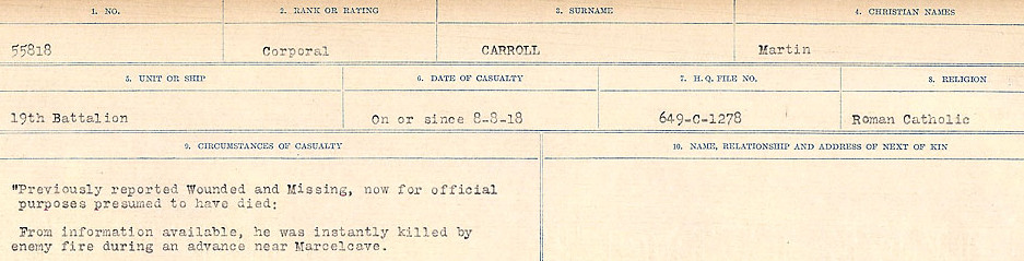 Circumstances of Death Registers– Source: Library and Archives Canada.  CIRCUMSTANCES OF DEATH REGISTERS, FIRST WORLD WAR Surnames:  Canavan to Caswell. Microform Sequence 18; Volume Number 31829_B016727. Reference RG150, 1992-93/314, 162.  Page 527 of 1004.