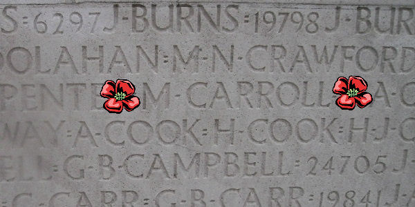 Inscription– Inscription - Vimy Memorial … Corporal Martin Carroll is also commemorated on the Vimy Memorial, Pas de Calais, France ... photo courtesy of Marg Liessens