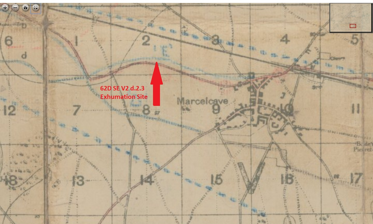 Map– The location where Corporal Martin Carrol was initially buried in August 8, 1918 is marked on a period trench map. In September 1919, all of the remains from this battlefield cemetery were exhumed and moved to the Villers-Bretonneux Military Cemetery.