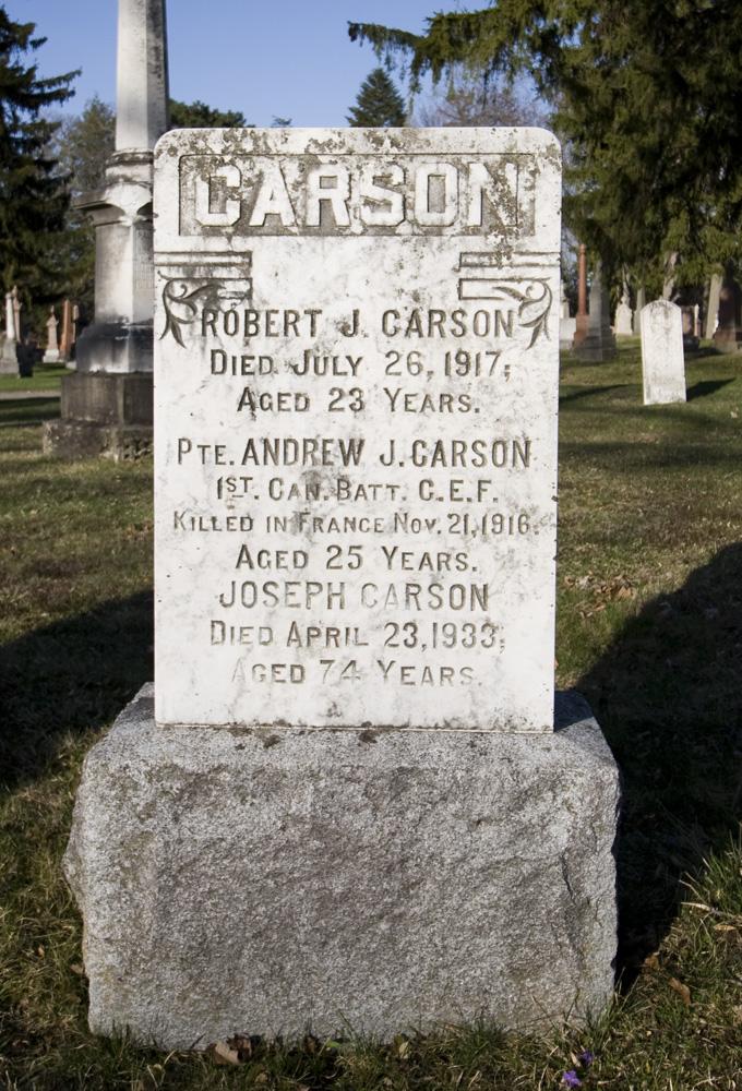 Memorial– Memorial grave stone in Mount Pleasant Cemetery, London Ontario.