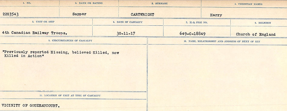 Circumstances of Death Registers– Source: Library and Archives Canada.  CIRCUMSTANCES OF DEATH REGISTERS, FIRST WORLD WAR Surnames:  Canavan to Caswell. Microform Sequence 18; Volume Number 31829_B016727. Reference RG150, 1992-93/314, 162.  Page 813 of 1004.