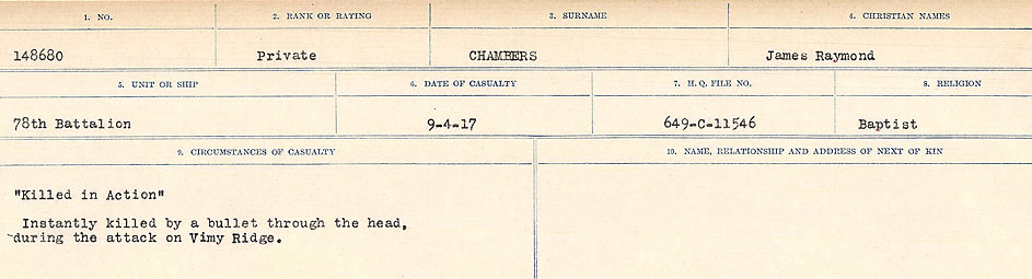 Circumstances of Death Registers– Source: Library and Archives Canada.  CIRCUMSTANCES OF DEATH REGISTERS, FIRST WORLD WAR Surnames:  CATCHPOLE TO CHIGNELL. Microform Sequence 19; Volume Number 31829_B016728. Reference RG150, 1992-93/314, 165. Page 349 of 958.