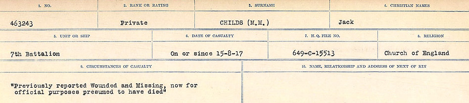 Circumstances of Death Registers– Source: Library and Archives Canada.  CIRCUMSTANCES OF DEATH REGISTERS, FIRST WORLD WAR Surnames:  CHILD TO CLAYTON.  Microform Sequence 20; Volume Number 31829_B016729. Reference RG150, 1992-93/314, 164.  Page 13 of 1068.