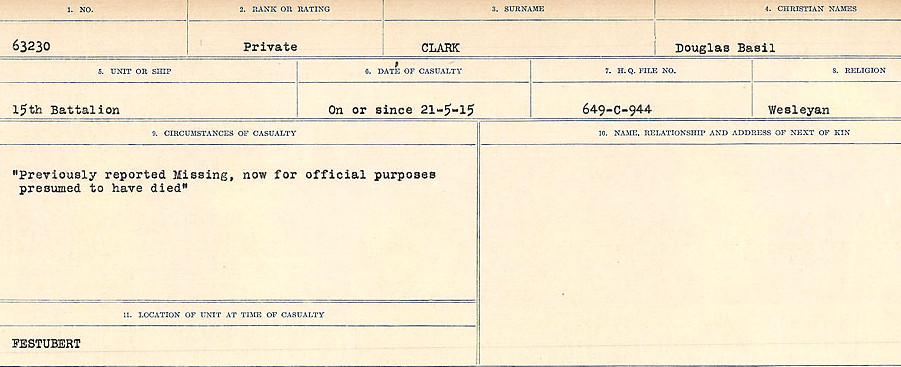 Circumstances of Death Registers– Source: Library and Archives Canada.  CIRCUMSTANCES OF DEATH REGISTERS, FIRST WORLD WAR Surnames:  CHILD TO CLAYTON.  Microform Sequence 20; Volume Number 31829_B016729. Reference RG150, 1992-93/314, 164.  Page of 511 of 1068.