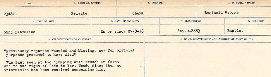 Circumstances of Death Registers– Source: Library and Archives Canada.  CIRCUMSTANCES OF DEATH REGISTERS, FIRST WORLD WAR Surnames:  CHILD TO CLAYTON.  Microform Sequence 20; Volume Number 31829_B016729. Reference RG150, 1992-93/314, 164.  Page 687 of 1068.