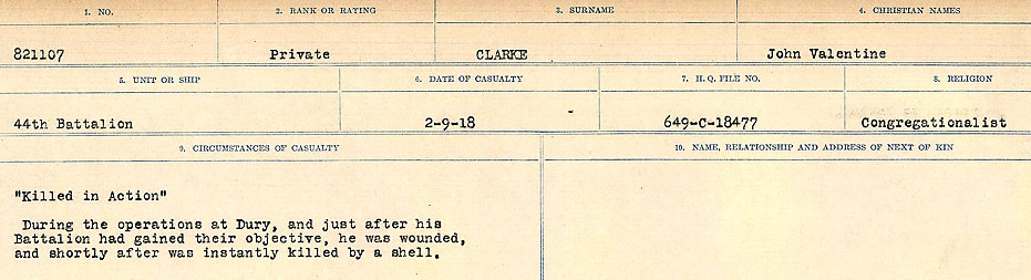 Photo of JOHN VALENTINE CLARKE– Source: Library and Archives Canada.  CIRCUMSTANCES OF DEATH REGISTERS, FIRST WORLD WAR Surnames:  CHILD TO CLAYTON.  Microform Sequence 20; Volume Number 31829_B016729. Reference RG150, 1992-93/314, 164.  Page 889 of 1068