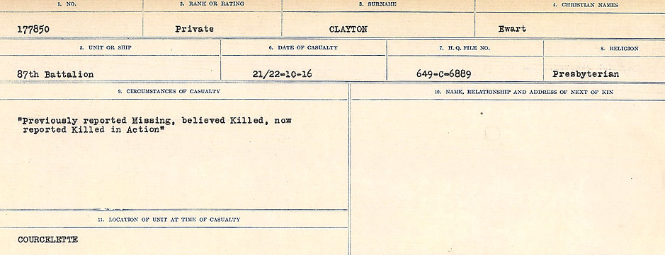 Attestation Papers– Source: Library and Archives Canada.  CIRCUMSTANCES OF DEATH REGISTERS, FIRST WORLD WAR Surnames:  CHILD TO CLAYTON.  Microform Sequence 20; Volume Number 31829_B016729. Reference RG150, 1992-93/314, 164.  Page 1043 of 1068