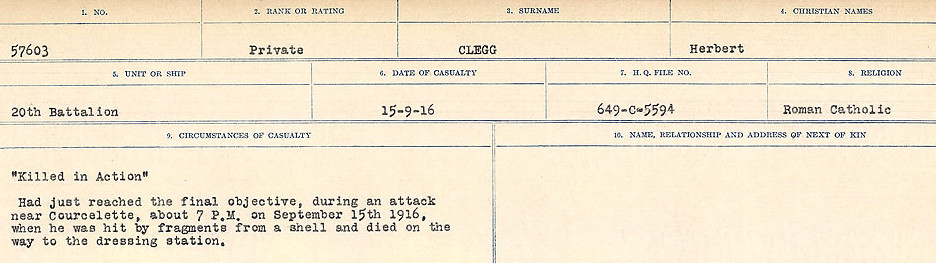 Circumstances of Death Registers– Source: Library and Archives Canada.  CIRCUMSTANCES OF DEATH REGISTERS, FIRST WORLD WAR Surnames:  CLEAL TO CONNOLLY.  Microform Sequence 21; Volume Number 31829_B016730. Reference RG150, 1992-93/314, 165.  Page 37 of 1384.