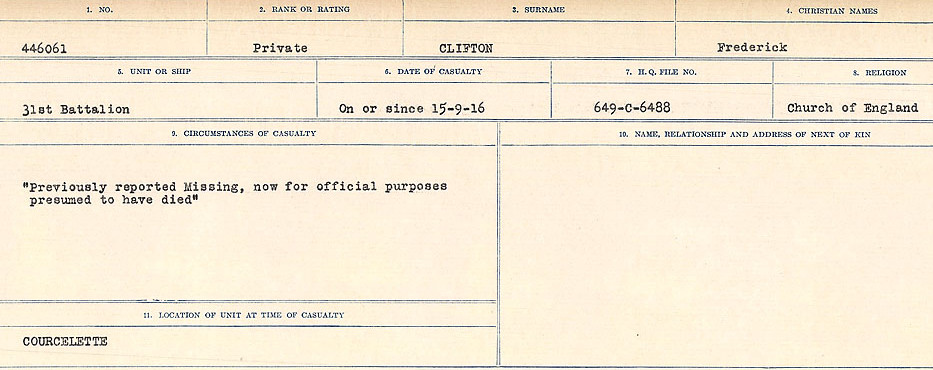 Circumstances of Death Registers– Source: Library and Archives Canada.  CIRCUMSTANCES OF DEATH REGISTERS, FIRST WORLD WAR Surnames:  CLEAL TO CONNOLLY.  Microform Sequence 21; Volume Number 31829_B016730. Reference RG150, 1992-93/314, 165.  Page 217 of 1384.