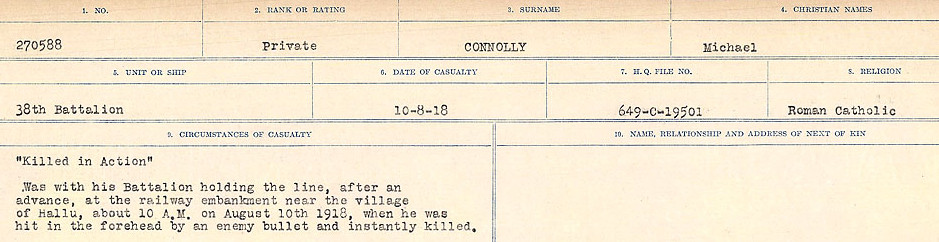 Circumstances of Death Registers– Source: Library and Archives Canada.  CIRCUMSTANCES OF DEATH REGISTERS, FIRST WORLD WAR Surnames:  CLEAL TO CONNOLLY.  Microform Sequence 21; Volume Number 31829_B016730. Reference RG150, 1992-93/314, 165.  Page 1367 of 1384.