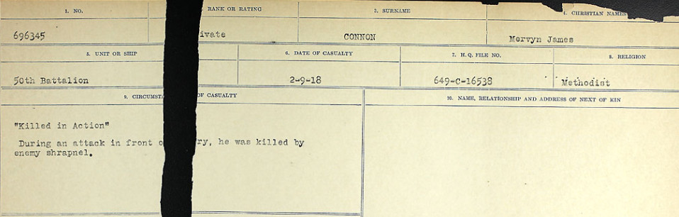 Circumstances of Death Registers– Source: Library and Archives Canada.  CIRCUMSTANCES OF DEATH REGISTERS, FIRST WORLD WAR Surnames:  CONNON TO CORBETT.  Microform Sequence 22; Volume Number 31829_B016731. Reference RG150, 1992-93/314, 166.  Page 809 of 818.