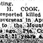 Newspaper Clipping– Pte. Cook indicated that he was a bicycle maker by trade.  His attestation stated that he was born in 1900.