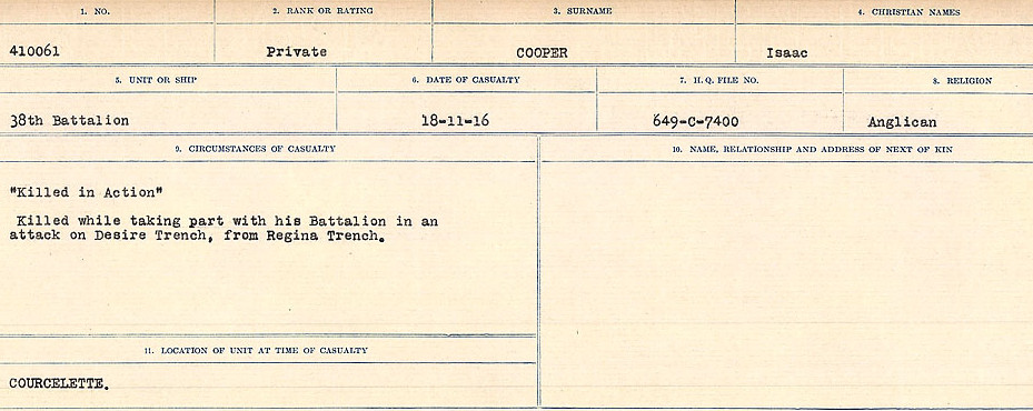 Circumstances of Death Registers– Source: Library and Archives Canada.  CIRCUMSTANCES OF DEATH REGISTERS, FIRST WORLD WAR Surnames:  CONNON TO CORBETT.  Microform Sequence 22; Volume Number 31829_B016731. Reference RG150, 1992-93/314, 166.  Page 617 of 818. Buried outside the village of Grandcourt, North West of Courcelette.
