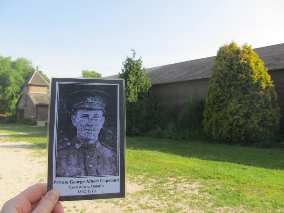 Photo of GEORGE COPELAND– Private George Copeland's photo at the sugar refinery near where he was killed on the Somme in Courcelette.