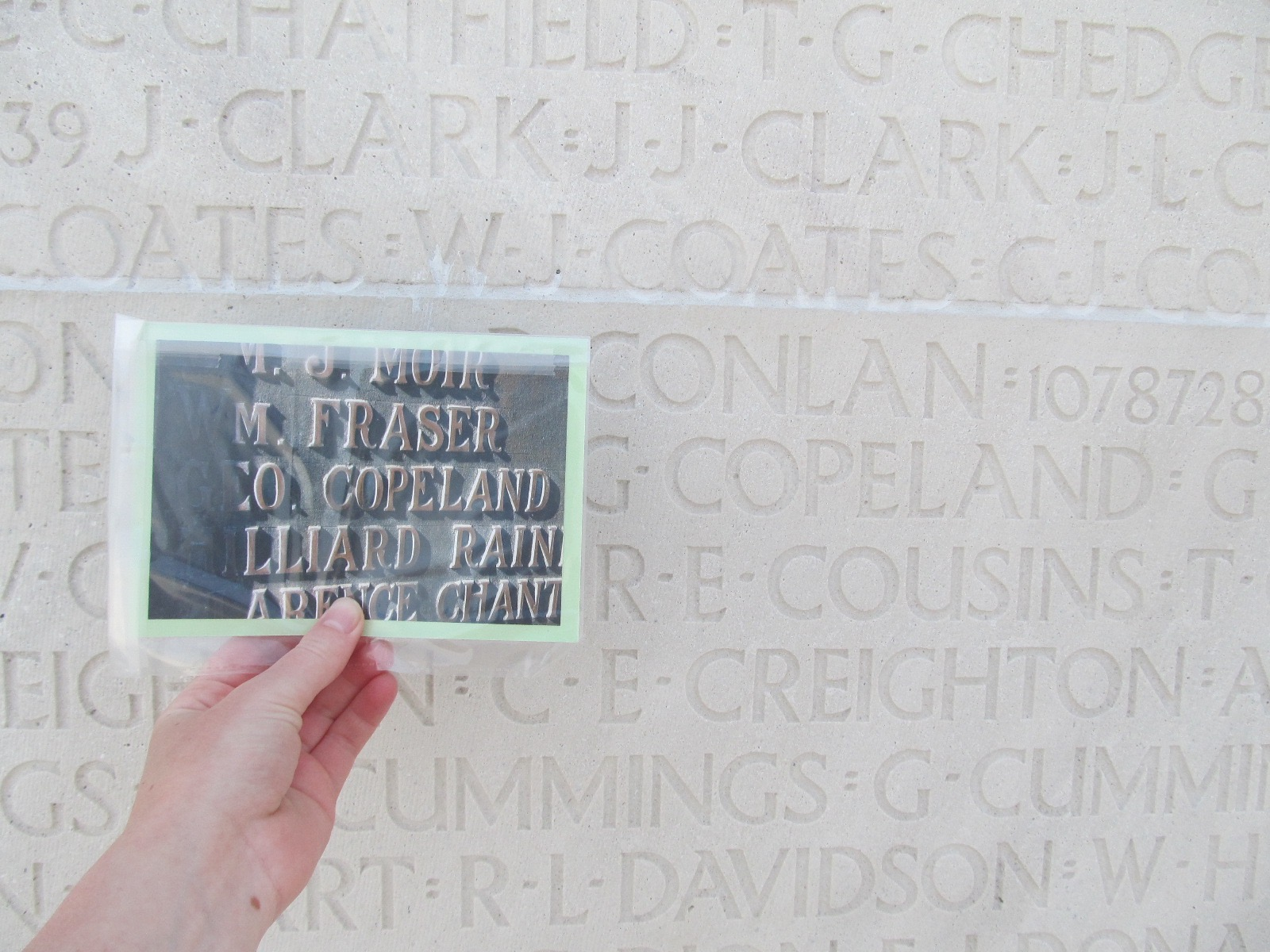 Inscription– Private George Copeland's name inscribed on the National Vimy Memorial, with a photo of his name on the local Cookstown memorial beside it.