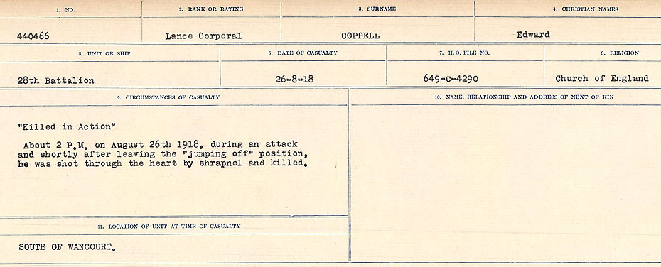 Circumstances of Death Registers– Source: Library and Archives Canada.  CIRCUMSTANCES OF DEATH REGISTERS, FIRST WORLD WAR Surnames:  CONNON TO CORBETT.  Microform Sequence 22; Volume Number 31829_B016731. Reference RG150, 1992-93/314, 166.  Page 751 of 818.