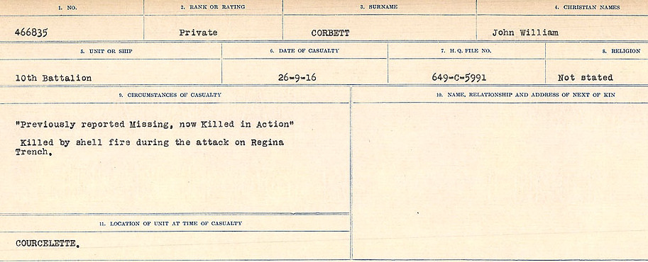 Circumstances of Death Registers– Source: Library and Archives Canada.  CIRCUMSTANCES OF DEATH REGISTERS, FIRST WORLD WAR Surnames:  CONNON TO CORBETT.  Microform Sequence 22; Volume Number 31829_B016731. Reference RG150, 1992-93/314, 166.  Page 795 of 818.