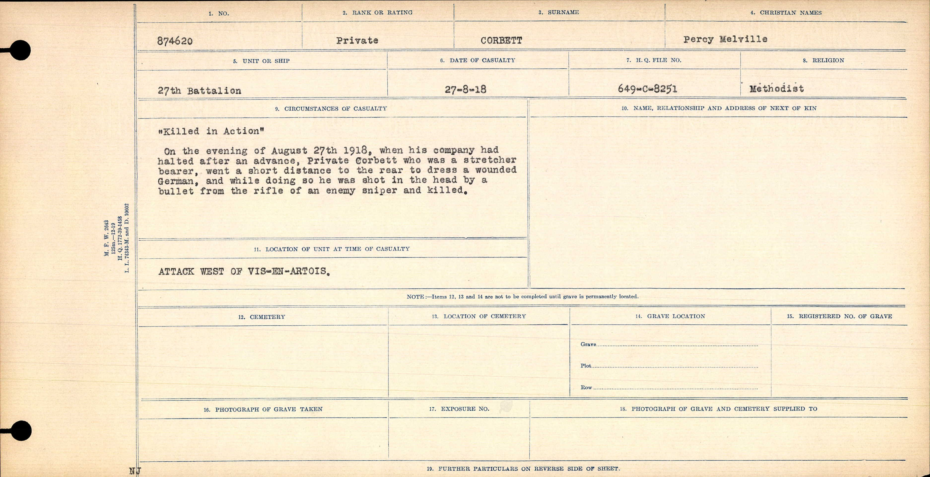 Document– The Circumstances of Death Notice for Percy Corbett.  He was killed by a sniper while helping a wounded German Soldier.