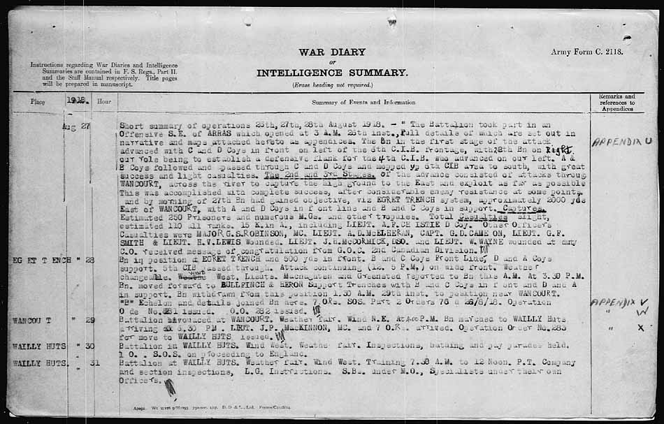 War Diary– 27th Batt. War Diary for August 27, 1918.  The Battle SE of Arras where Percy was killed.  It states that there were 15 KIAs that day.