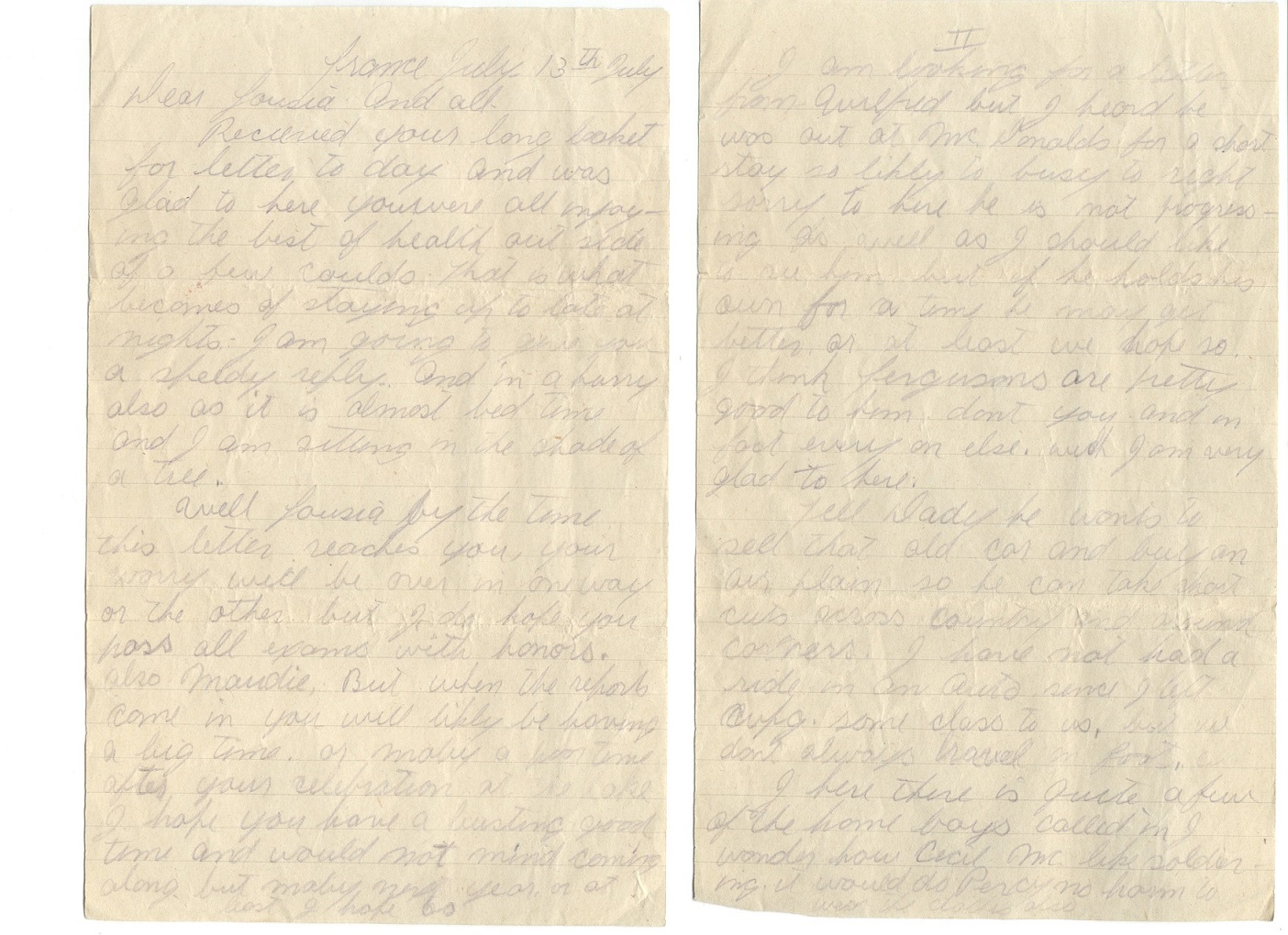 Letter– A letter home from Percy Corbett July 13th 1918. Letter is to his Family and does not mention much about the war.  Percy says that all the Crystal City boys are either in Canada or Wounded.  He says it is almost bedtime and he is under a shady tree.  The Letter was written an Month before he dies.  Pages 1+2 out of 4