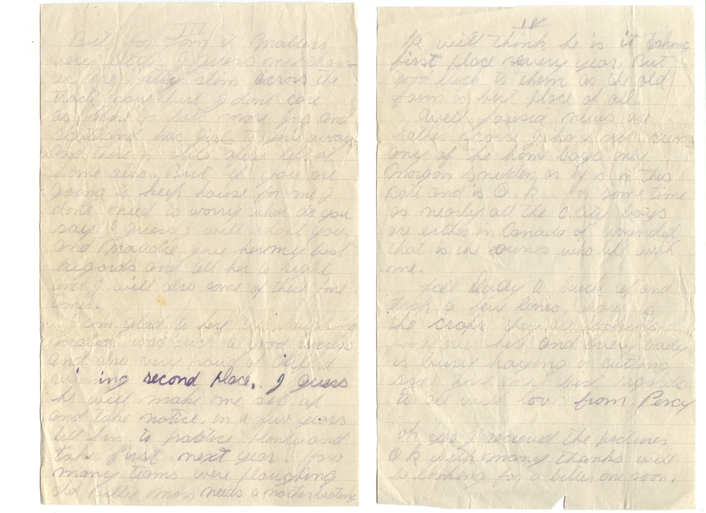 Letter– A letter home from Percy Corbett July 13th 1918. Letter is to his Family and does not mention much about the war.  Percy says that all the Crystal City boys are either in Canada or Wounded.  He says it is almost bedtime and he is under a shady tree.  The Letter was written an Month before he dies.  Pages 3+4 out of 4