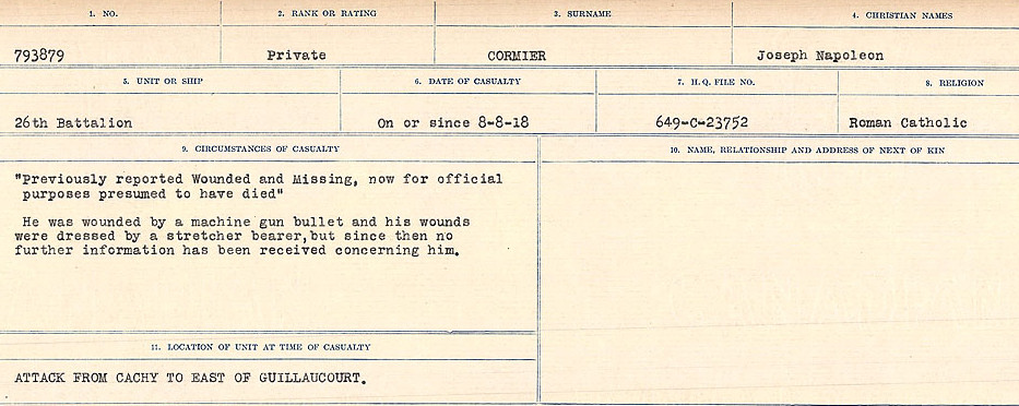 Circumstances of Death Registers– Source: Library and Archives Canada.  CIRCUMSTANCES OF DEATH REGISTERS, FIRST WORLD WAR Surnames:  CORBI TO COZNI.  Microform Sequence 23; Volume Number 31829_B016732. Reference RG150, 1992-93/314, 167.  Page 123 of 900.