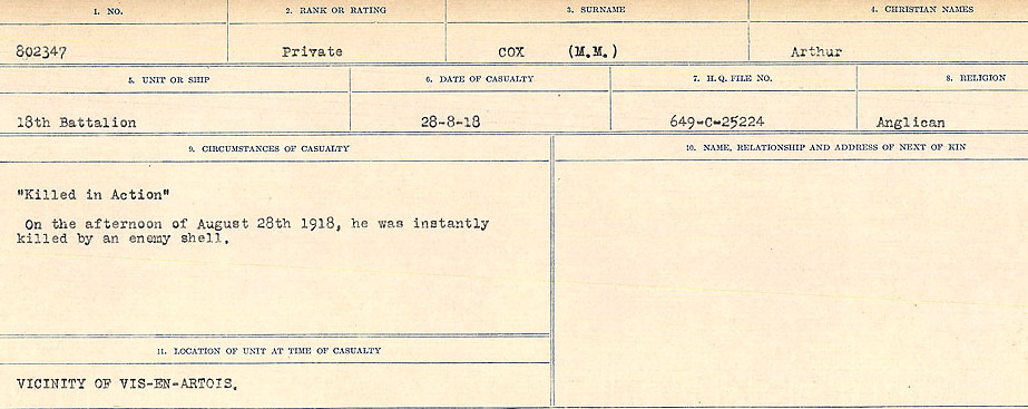Circumstances of Death Registers– Source: Library and Archives Canada.  CIRCUMSTANCES OF DEATH REGISTERS, FIRST WORLD WAR Surnames:  CORBI to COZNI.  Microform Sequence 23; Volume Number 31829_B016732. Reference RG150, 1992-93/314, 167.  Page 763 of 900.